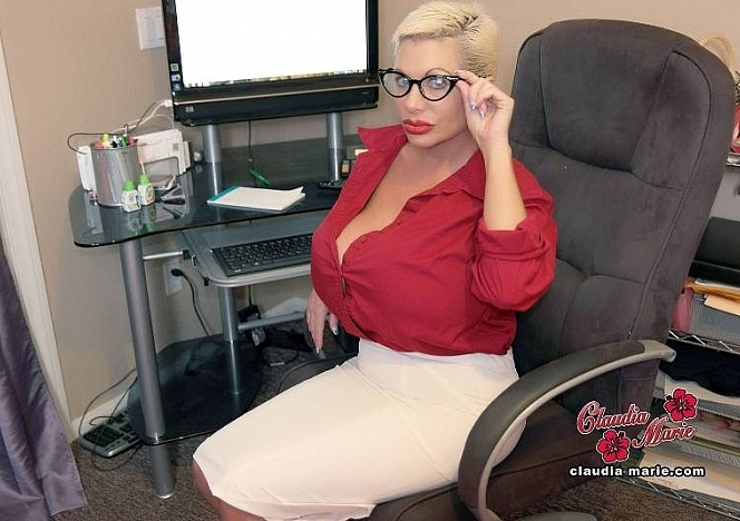 Big tits Claudia Marie at her desk at the office