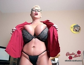 Claudia Marie strips to bra and panties