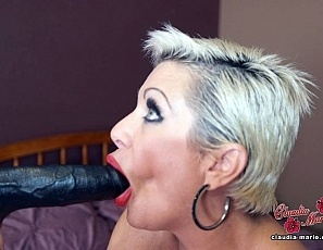 Big black cock in Claudia Marie's whore mouth
