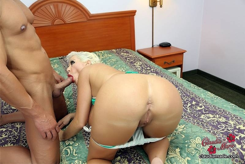 Claudia Marie fat ass jacked in the air while sucking hard cock